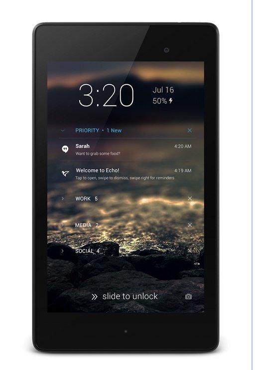 Microsoft blen aplikacionin në Android Echo Notifications Lockscreen