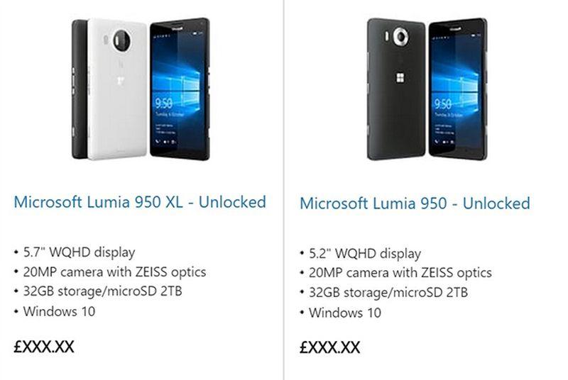 Dyqanet online Microsoft publikojnë aksidentalisht online dy smartfonët e ardhshëm Lumia 950