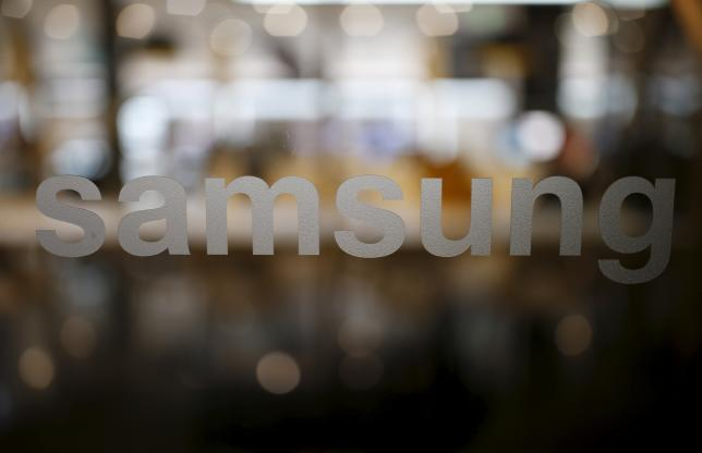 A Samsung logo is seen at Samsung Electronics' headquarters in Seoul