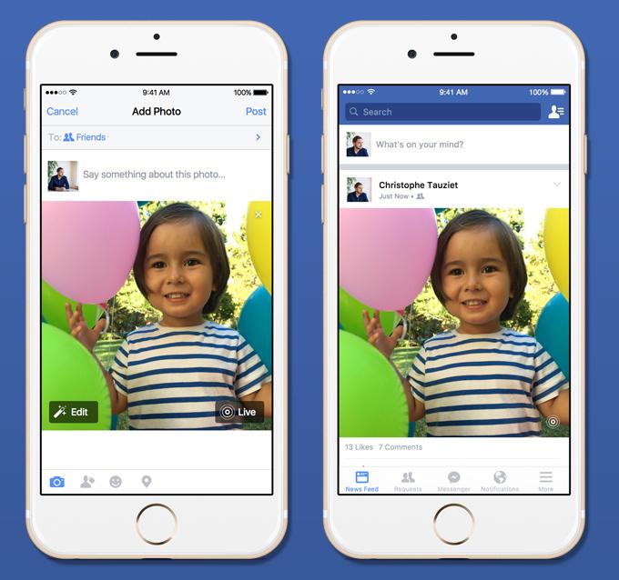 Aplikacioni Facebook në iOS shton mbështetjen për fotot live të iPhone 6S