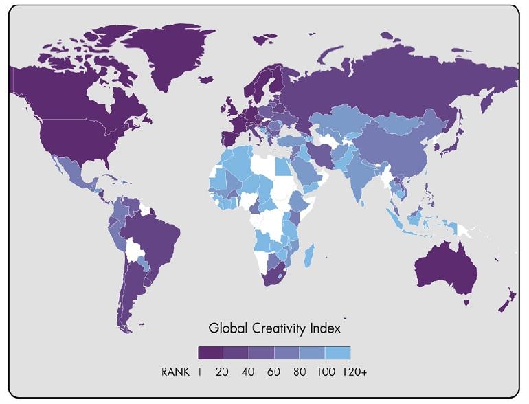 Indeksi Global i Kreativitetit përpiluar nga Instituti i Mirëqenies Martin rëndit Shqipërinë në vendin e 116-të