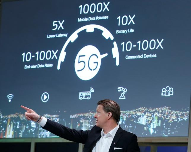 Ericsson's President & CEO Hans Vestberg points during a news conference at the Mobile World Congress in Barcelona