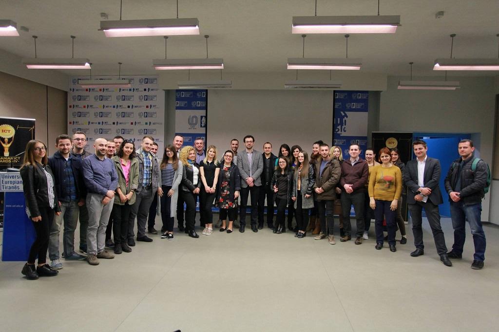 Albanian ICT Awards takim me studentët e Universitetit Europian dhe Shkollës së Mesme Profesionale Gjin Gazull
