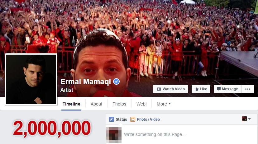 Ermal Mamaqi, artisti shqiptar më i pëlqyer në Facebook kaloi shifrën e 2 milion ndjekësve