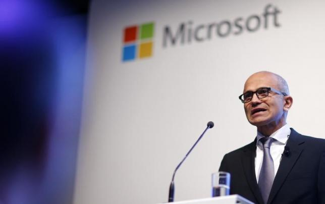 Microsoft CEO Nadella holds a speech to present the companies new cloud strategy for Germany in Berlin