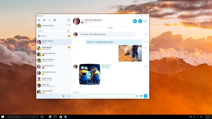 Microsoft lançoi versionin paraprak të aplikacionit universal Skype për Windows 10