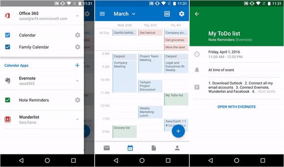 Microsoft integron Wunderlist, Evernote dhe Facebook me kalendarin e aplikacionit Outlook