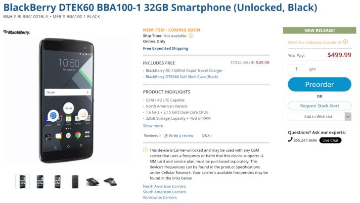BlackBerry DTEK60 shfaqet online me kosto 499 dollar