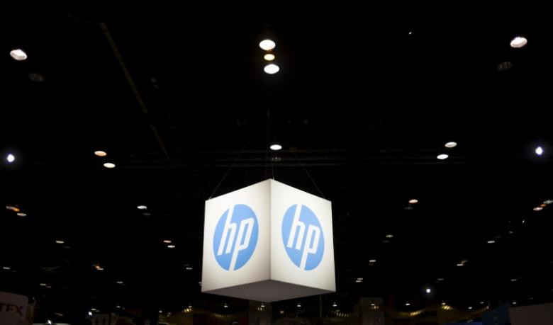 The Hewlett-Packard (HP) logo is seen as part of a display at the Microsoft Ignite technology conference in Chicago