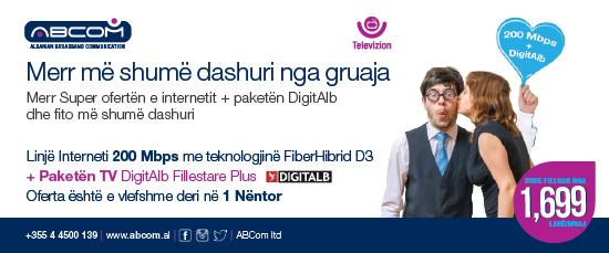 Abcom lançon pakot 100 Mbps dhe 200 Mbps me kosto 5499 lekë dhe 9999 lekë respektivisht