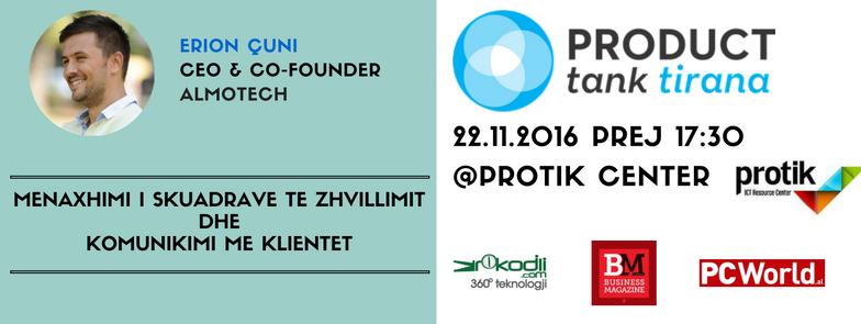 Product Tank Tirana organizon takimin e 3-të, i ftuar CEO i Almotech Erion Çuni