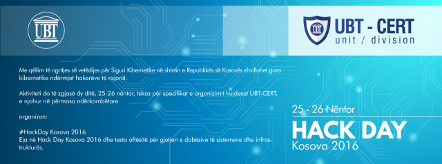 """UBT-CERT organizon në Prishtinë aktivitetin për siguri kibernetike """"Hack Day Kosova 2016"""""""