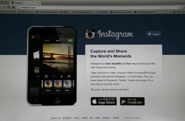 An Instagram login page is pictured on a laptop screen in Pasadena
