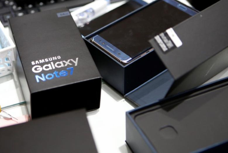 Exchanged Samsung Electronics' Galaxy Note 7 is seen at company's headquarters in Seoul