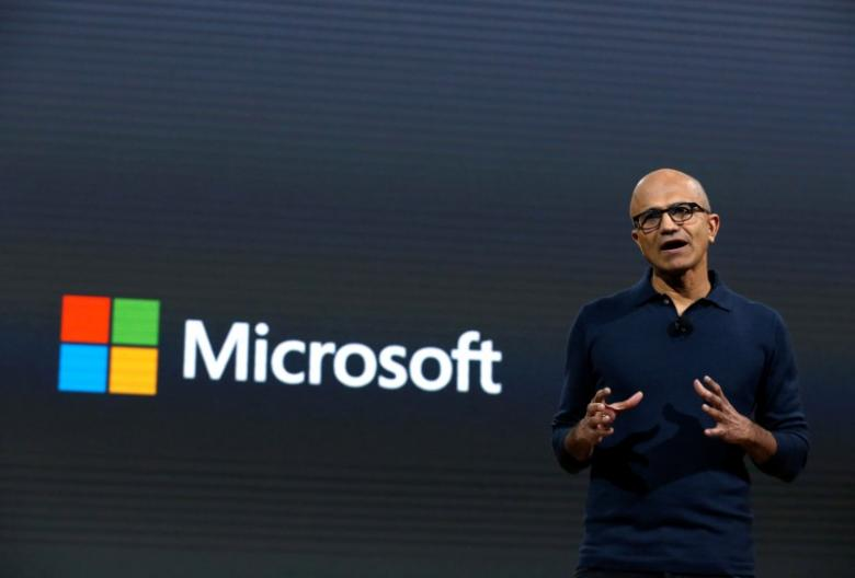 Microsoft CEO Satya Narayana Nadella speaks at Microsoft's live event in New York