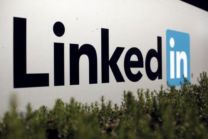 The logo for LinkedIn Corporation is shown in Mountain View, California