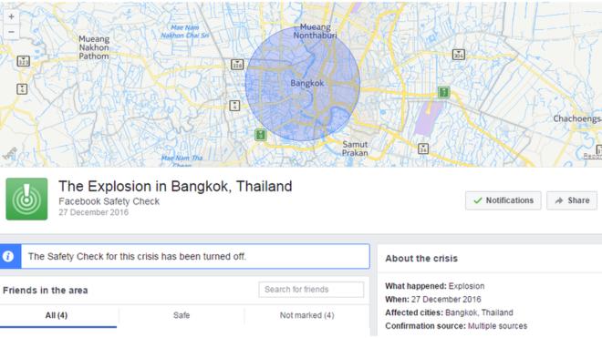 Kontrolli i Sigurisë në Facebook alarmon gabimisht kryeqytetin Tajlandez Bangkok