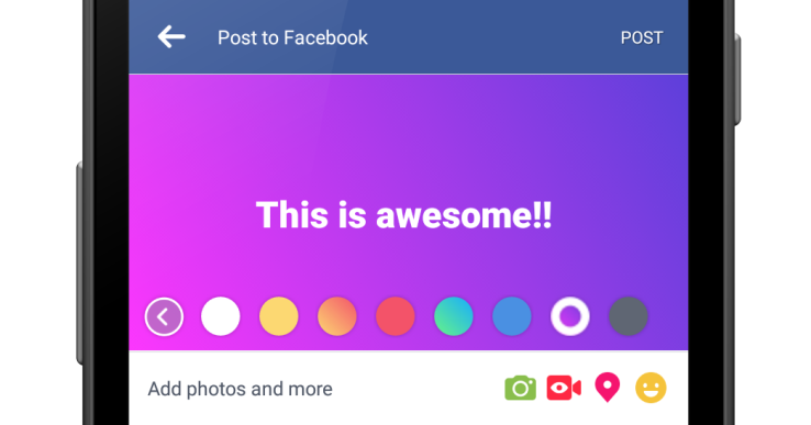 Facebook inkurajon publikimin e përmbajtjeve me tekst nëpërmjet sfondeve me ngjyra
