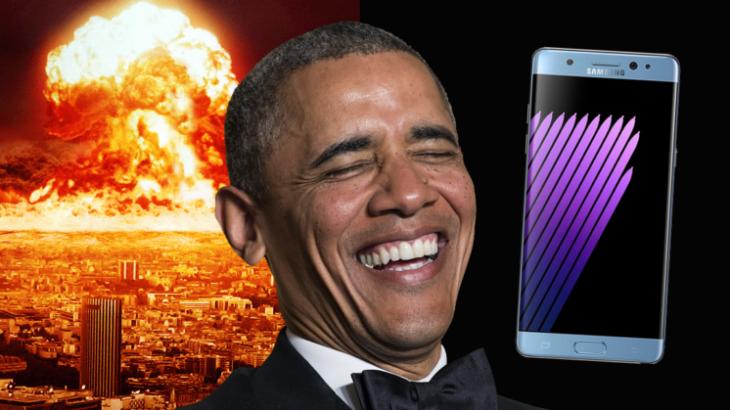 Galaxy Note 7 objekt batutash nga Presidenti i Shteteve të Bashkuara Barak Obama