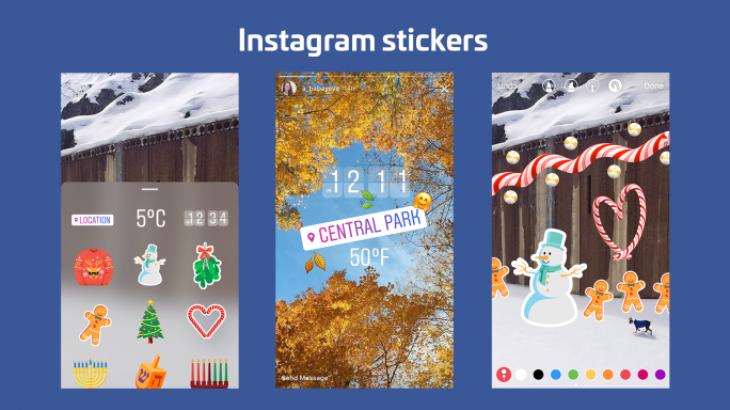 Historitë e Instagram me afisha të vendodhjes, orës, motit dhe emoji